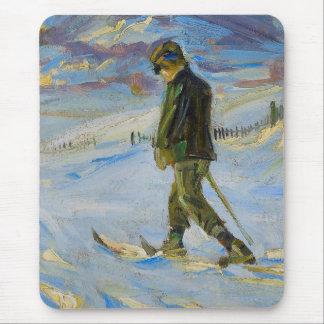 Vintage Ski poster,  Nordic skiing Mouse Pad