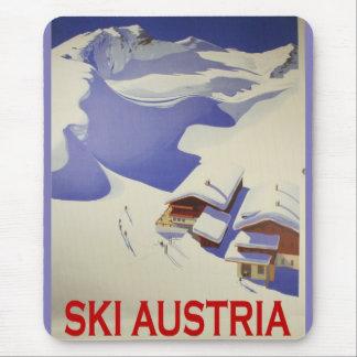 Vintage Ski Poster, Ski Austria Mouse Pad