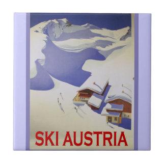 Vintage Ski Poster, Ski Austria Tile