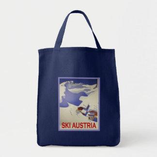 Vintage Ski Poster, Ski Austria Grocery Tote Bag