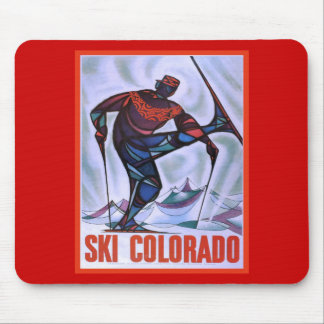 Vintage ski poster Ski Colorado Mouse Pad