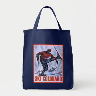 Vintage ski poster,   Ski Colorado Grocery Tote Bag