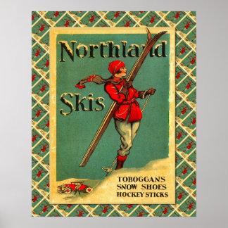 Vintage Ski poster, Ski equipment  Neuchatel Poster