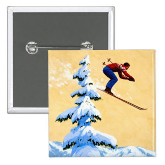 Vintage Ski Poster, Ski jumper and pine trees Pin