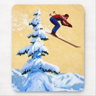 Vintage Ski Poster, Ski jumper and pine trees Mousepads