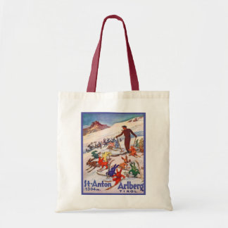 Vintage ski poster, St Anton, Arlberg, Tirol Budget Tote Bag