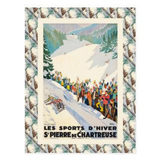 Vintage Ski Poster,  St Pierre de Chartreuse Postcard