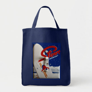 Vintage ski poster,   Stowe, Vermont Grocery Tote Bag