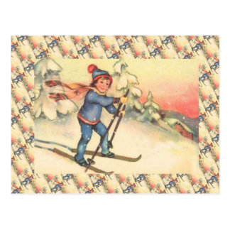 Vintage Ski Scene, Girl on the slopes Postcard