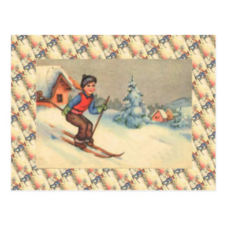 Vintage Ski Scene, Starting young Postcard