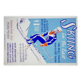 Vintage Skiing in the East WPA Poster