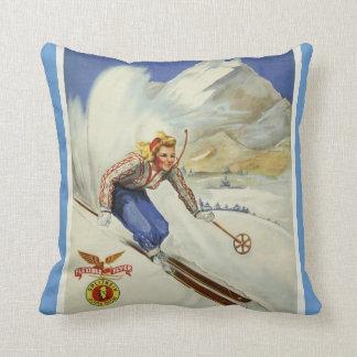 Vintage Skiing Travel Art Cushion