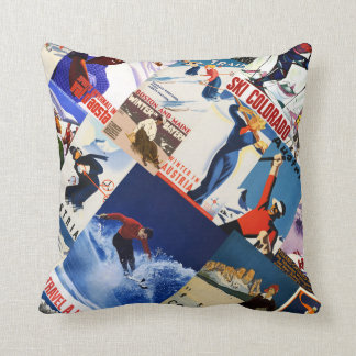 Vintage Skiing Travel poster collage Throw Pillow