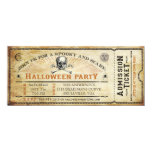 Vintage Skull and Bones Halloween Party Ticket 10 Cm X 24 Cm Invitation Card