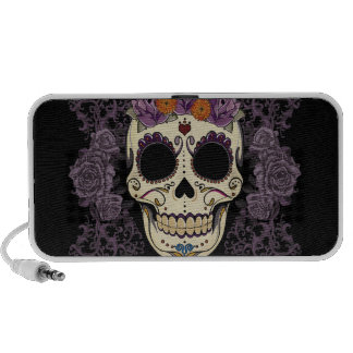 Vintage Skull and Roses Doodle Travel Speakers