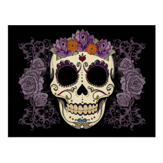 Vintage Skull and Roses Postcard
