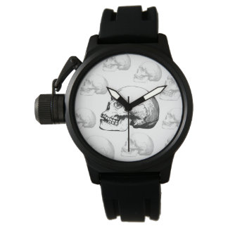 Vintage Skull Black and White Watch