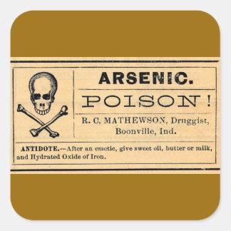 Vintage Skull Crossed Bones Arsenic Poison Label Square Sticker