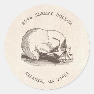 Vintage Skull Halloween Return Address Label Round Sticker