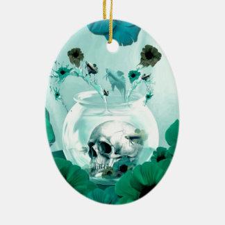 Vintage skull in fish bowl christmas tree ornament