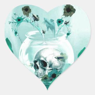Vintage skull in fish bowl heart sticker