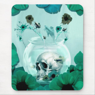 Vintage skull in fish bowl mousepad