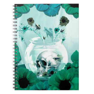 Vintage skull in fish bowl note books