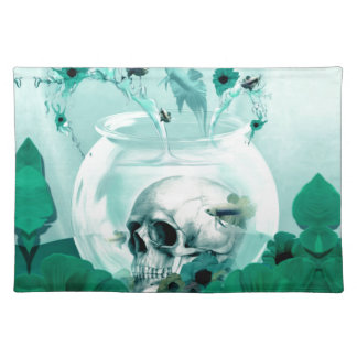 Vintage skull in fish bowl place mats
