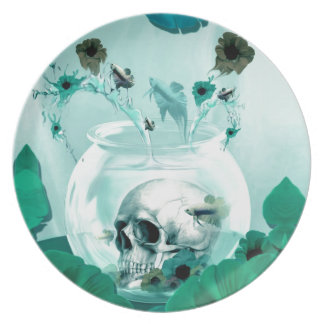 Vintage skull in fish bowl party plate