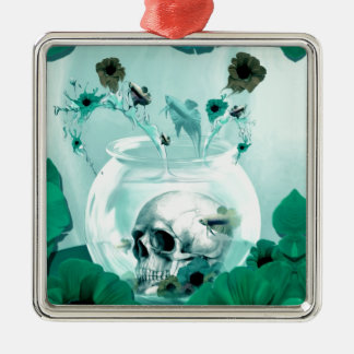 Vintage skull in fish bowl Silver-Colored square decoration