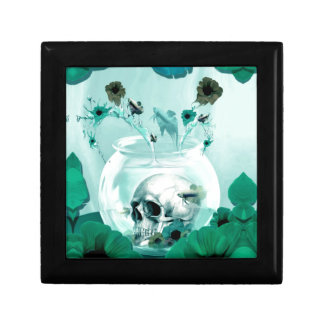 Vintage skull in fish bowl small square gift box