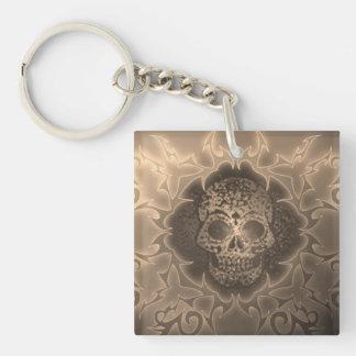 vintage skull square acrylic keychains