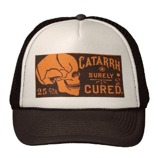 Vintage Skull Medicine Advertisement Hat
