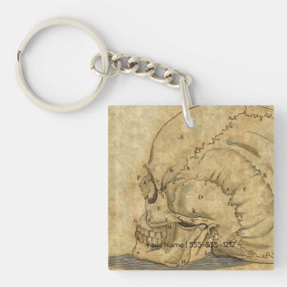 Vintage Skull Profile Engraving Lettered Key Ring