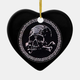 Vintage Skull round icon Ceramic Heart Decoration