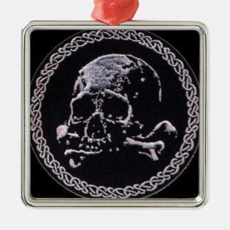 Vintage Skull round icon Silver-Colored Square Decoration