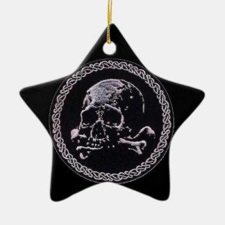 Vintage Skull round icon Ceramic Star Decoration