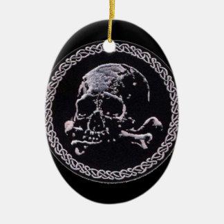 Vintage Skull round icon Ceramic Oval Decoration