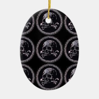 Vintage Skull round icon pattern Ceramic Oval Decoration