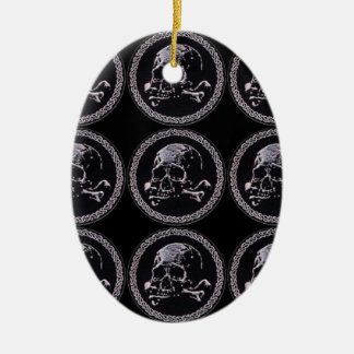 Vintage Skull round icon pattern Christmas Tree Ornaments