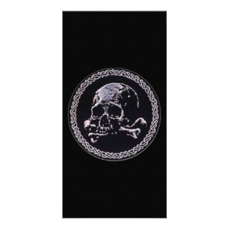 Vintage Skull round icon Personalized Photo Card
