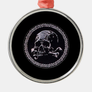 Vintage Skull round icon Silver-Colored Round Decoration
