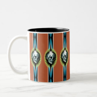 Vintage Skull Starburst Two-Tone Coffee Mug