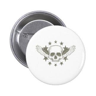 Vintage Skull Wings Stars Pinback Button