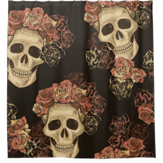 Vintage Skulls and Roses Pattern Shower Curtain