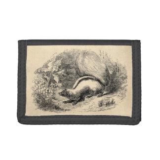 Vintage Skunk 1800s Skunks Illustration Template Trifold Wallets