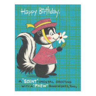 Vintage Skunk Happy Birthday Postcard