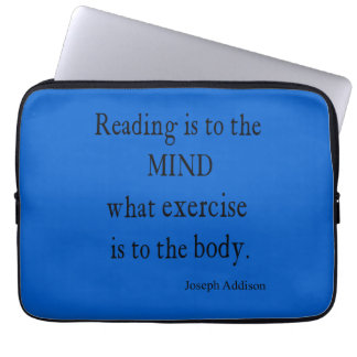 Vintage Sky Blue Addison Reading Mind Quote Laptop Computer Sleeves