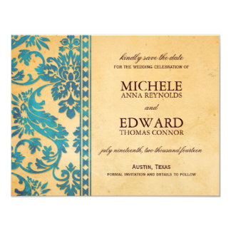 Vintage Sky Blue Damask Lace Save the Date 4.25x5.5 Paper Invitation Card