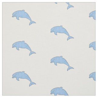 Vintage sky blue dolphins pattern fabric
